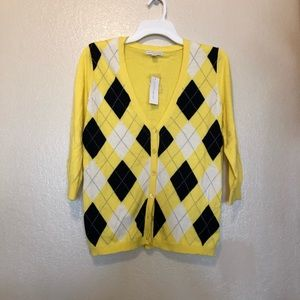 New York and Company Sweater Cardigan Yellow Med
